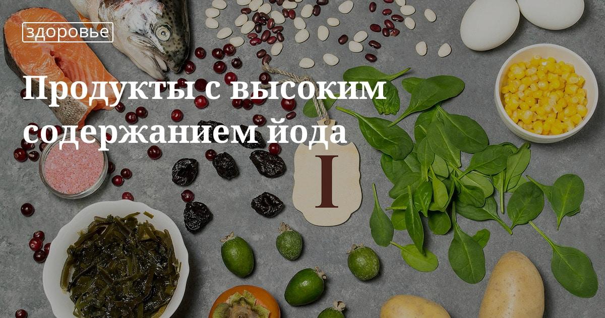 Йод в продуктах питания: таблица