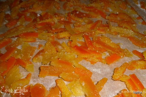 Когда остаётся совсем немного сиропа - варка завершена. В самом конце обязательно добавить лимонную кислоту по вкусу. Всё. Дальше можно поступить с цукатами по своему усмотрению. Я выложила на дуршлаг, чтобы стёк сироп, обваляла в сахаре и подсушила на пергаменте в духовке. Можно ещё горячие цукаты сразу после варки выложить в стерильные банки и использовать для прослойки тортов, а сироп для пропитки.