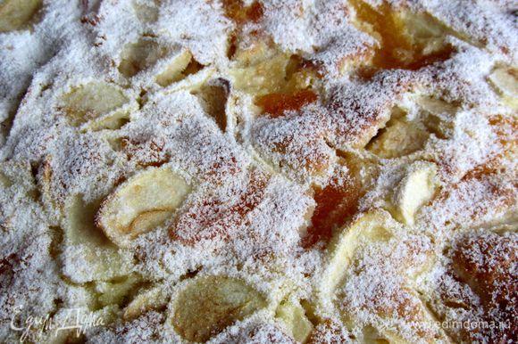 Немного остывший пирог присыпать сахарной пудрой.