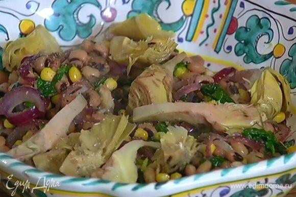 теплые салаты рецепты с фото с фасолью