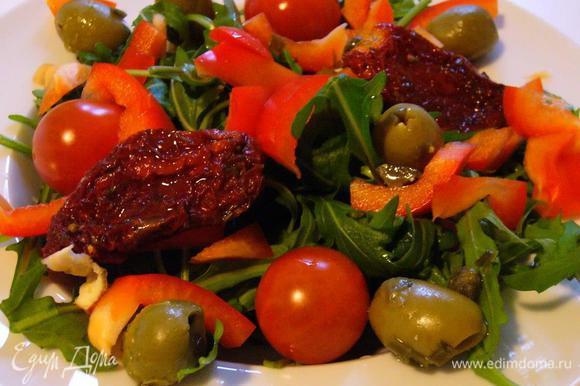 рецепт теплый салат с вешенками