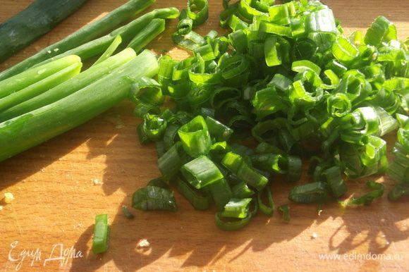 Зелень промыть и высушить, мелко нарезать.