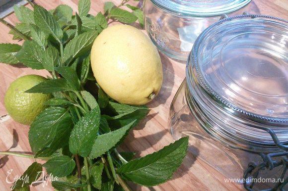 Баночки подготавливаем обычным для вас способом. Я обдаю крутым кипятком и оставляю их прогреваться. Лимон и лайм (можно два лайма) обдаем кипятком. Мяту моем, обсушиваем и режем на тонкие полосочки.