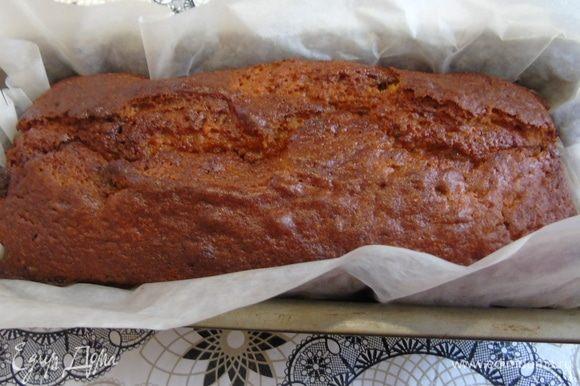 Выпекайте 60 минут при температуре 180°C. Ориентируйтесь по своей духовке и высоте кекса. Если видите, что верх пригорает, прикройте фольгой.
