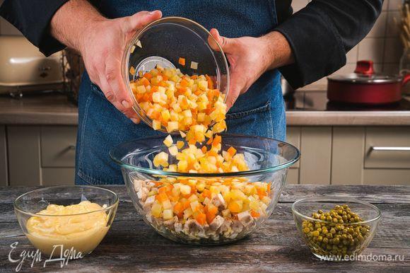 Смешайте овощи, яйца, куриную грудку и горошек, посолите, поперчите и заправьте домашним майонезом.