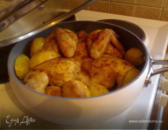 Рецепт жареная курица с картошкой на сковороде