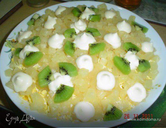 Салат из курицы с ананасами и грибами слоями рецепт с