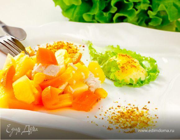 Салат из курицы и ананасов с карри