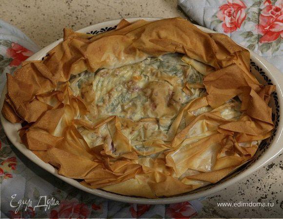 Пирог со шпинатом и творогом рецепт