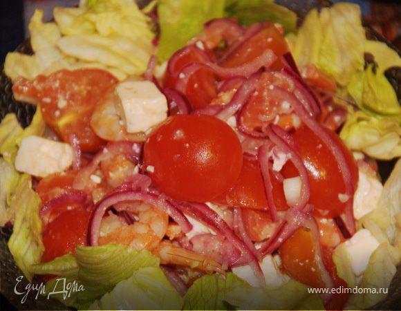 Салат с брынзой и рыбой
