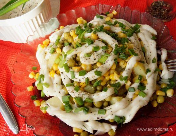 Салат с кукурузой консервированной и картошкой